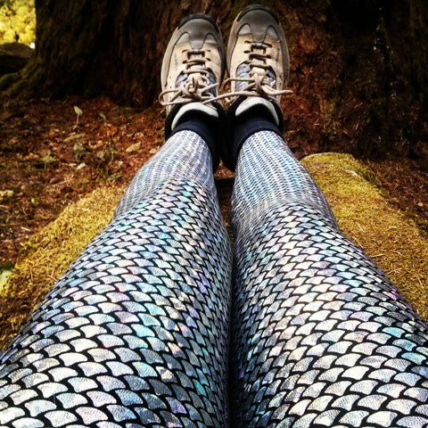Mermaid Sparkle Silver Adult Leggings (small scale)
