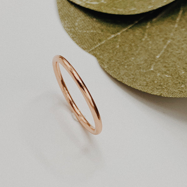 Rose gold ring band.