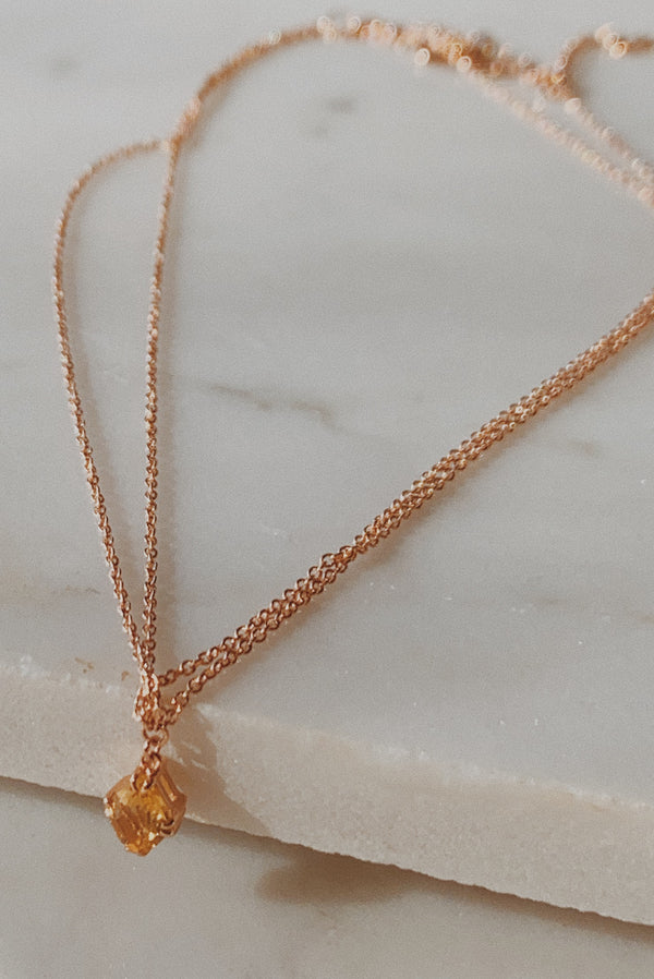 Two layer rose gold chain anklet with marquise shaped yellow sapphire.