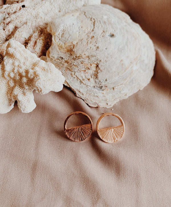 Rose gold large crescent earrings textured or smooth.