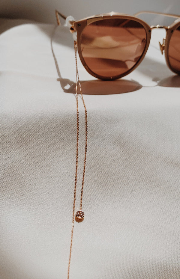 Rose Gold eyeglass chain with two pink morganite gems.