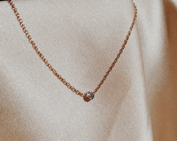 Rose Gold diamond solitaire necklace.