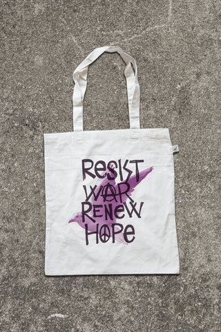 "Jute Tasche "" Resist War Renew Hope"""