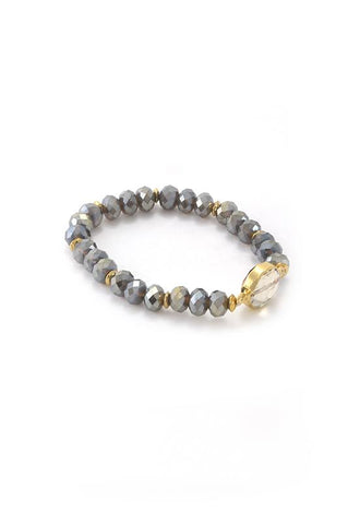 Lindsey Beaded Bracelet - Gray