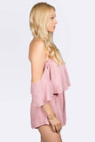 Fast Lane Off Shoulder Pink Romper, Rompers + Jumpsuits - Armed & Mirrored