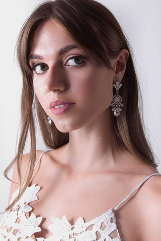 Crown Jewel Clear Crystal Drop Earrings