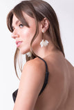 Nip Tuck White Flower Drop Earrings, Earrings - Armed & Mirrored