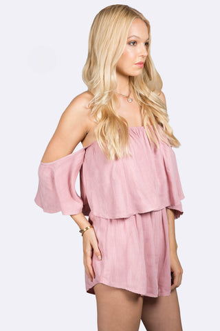 Fast Lane Off Shoulder Pink Romper