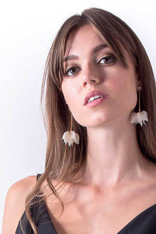 Nip Tuck White Flower Drop Earrings