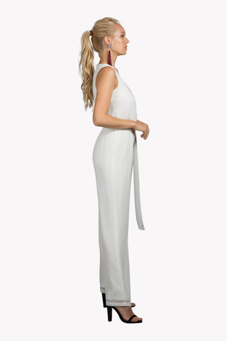Ivory Coast White Deep Plunge Jumpsuit
