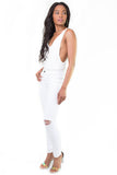 Lay Low White V Plunge Bodysuit, Tops - Armed & Mirrored