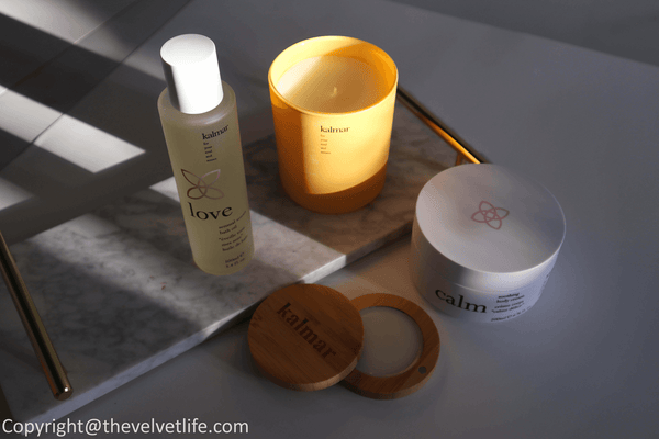 Kalmar products review Peace Balm of Serenity, Love Sensual Senses Bath Oil, Calm Soothing Body Cream, and Joy Scented Candle ~ The Velvet Life X Kalosophie Canada Luxury Beauty