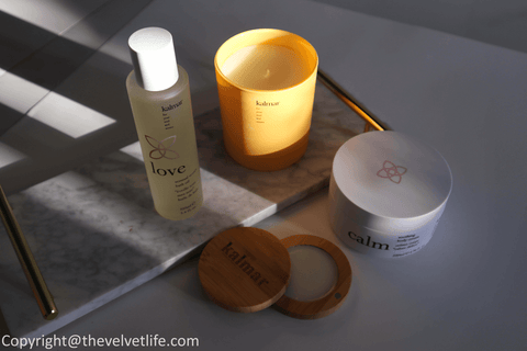 Kalmar products review Peace Balm of Serenity, Love Sensual Senses Bath Oil, Calm Soothing Body Cream, and Joy Scented Candle ~ The Velvet Life X Kalosophie Luxury Beauty Distribution Canada