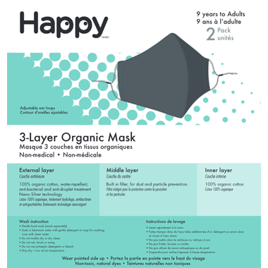 Happy 3-Layer Face Mask Charcoal