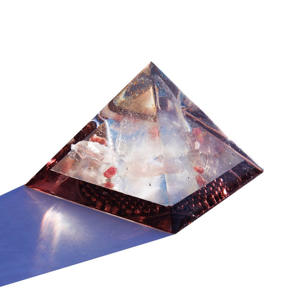 Lite the Light Orgone Pyramid Medium ~ Brazilan Quartz + Madagascar Rose Quartz + Pink Tourmaline + HFF