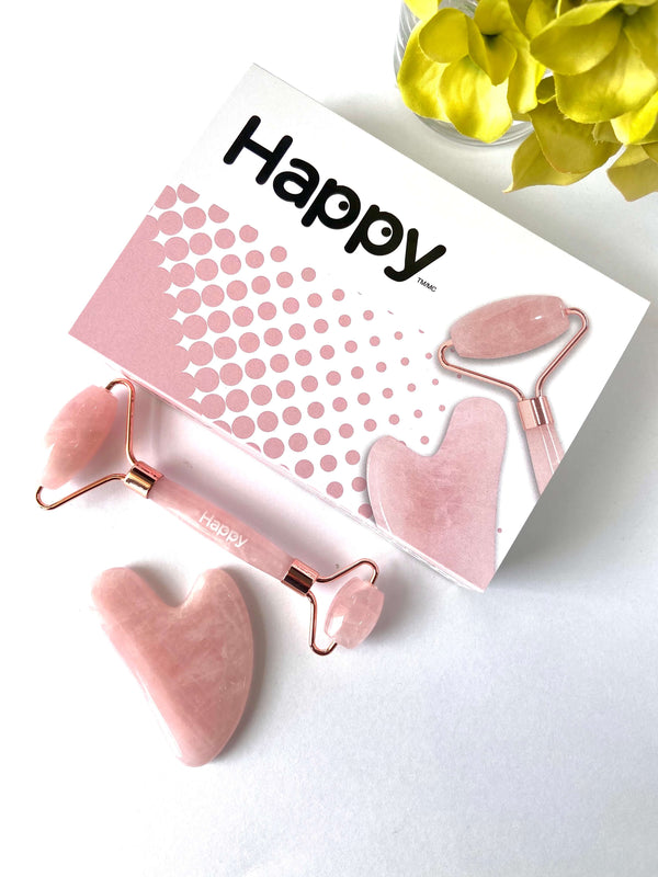 Happy Facial Roller & Gua Sha Set ~ Rose Quartz