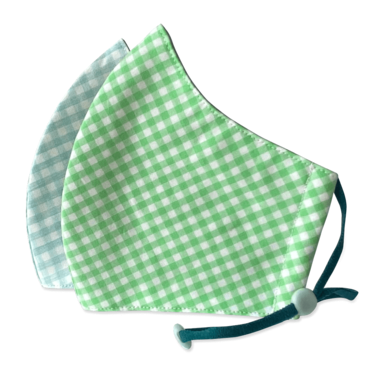 Happy 3-Layer Kid's Organic Cotton Face Masks Aqua Checker + Green Checker