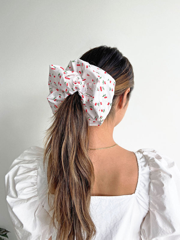 Bronze Age Oversized Cotton Scrunchie ~ White Cherry