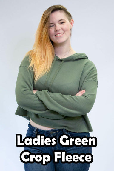 Green Crop Fleece Hoodies - Women