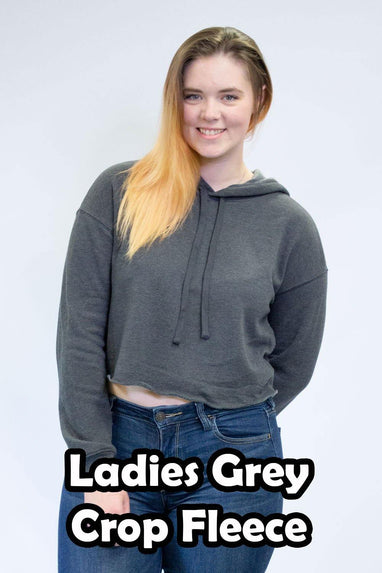 Grey Crop Fleece Hoodies - Women