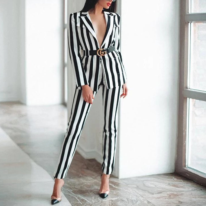 White & Black Striped Two Piece Set