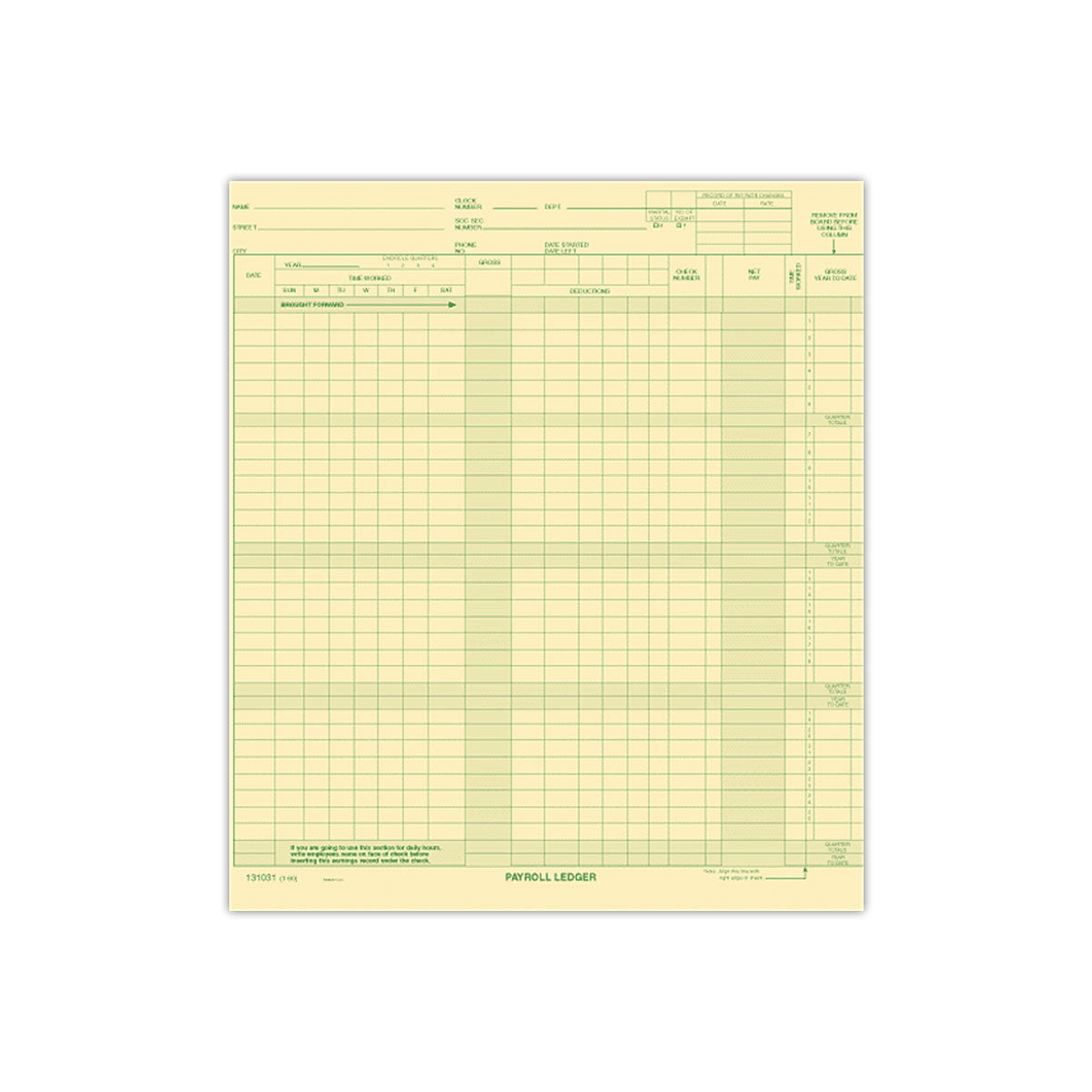 One-Write Payroll Ledger Cards - Check Depot