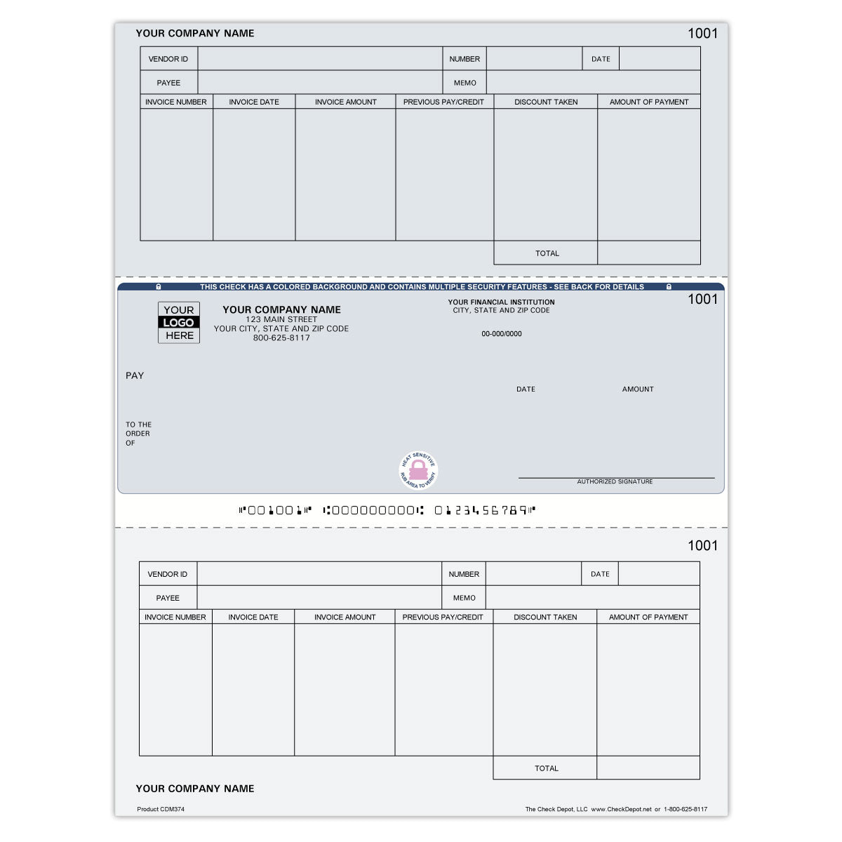 Laser Middle Accounts Payable Computer Checks - Check Depot