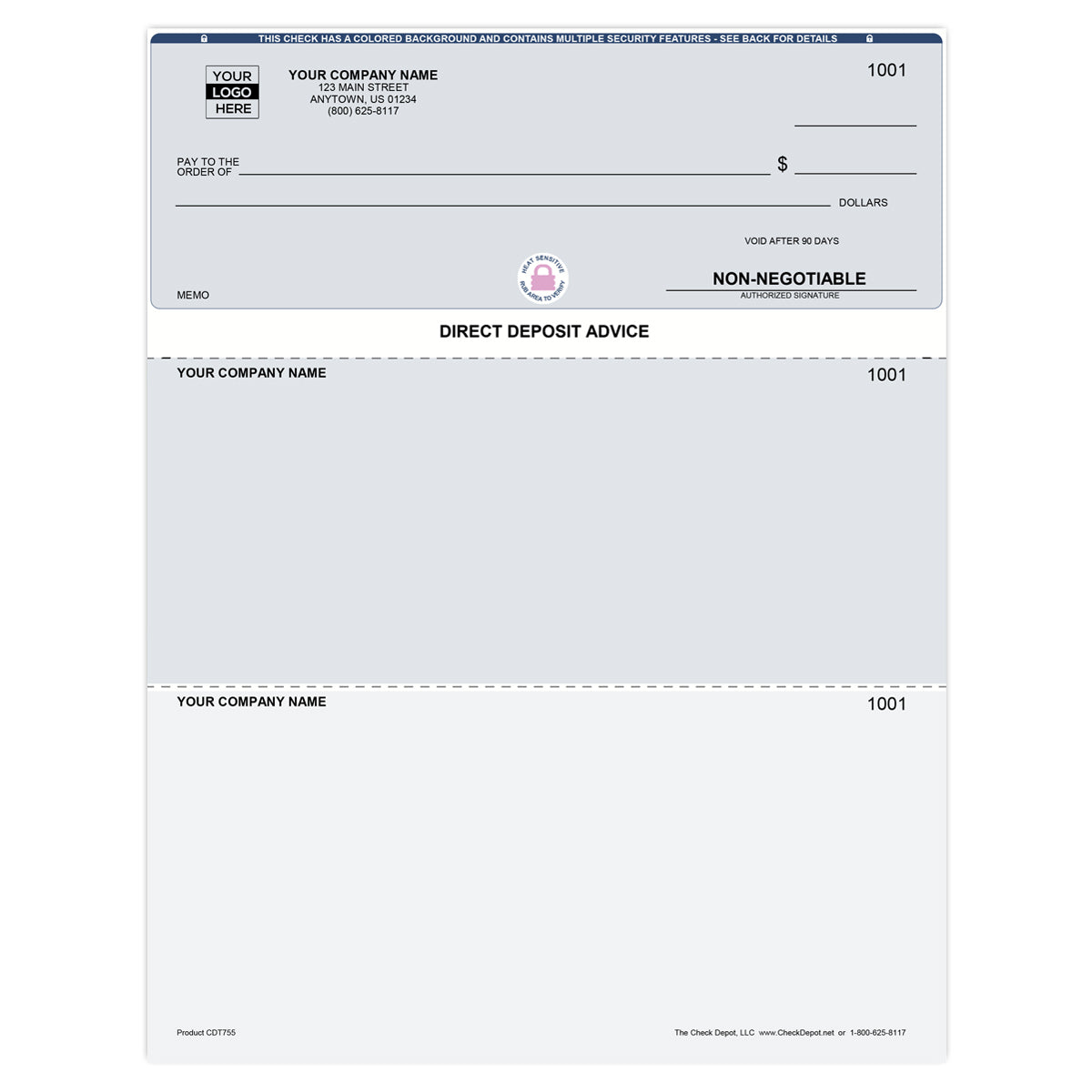 QuickBooks Top Direct Deposit Advice Slips - Check Depot