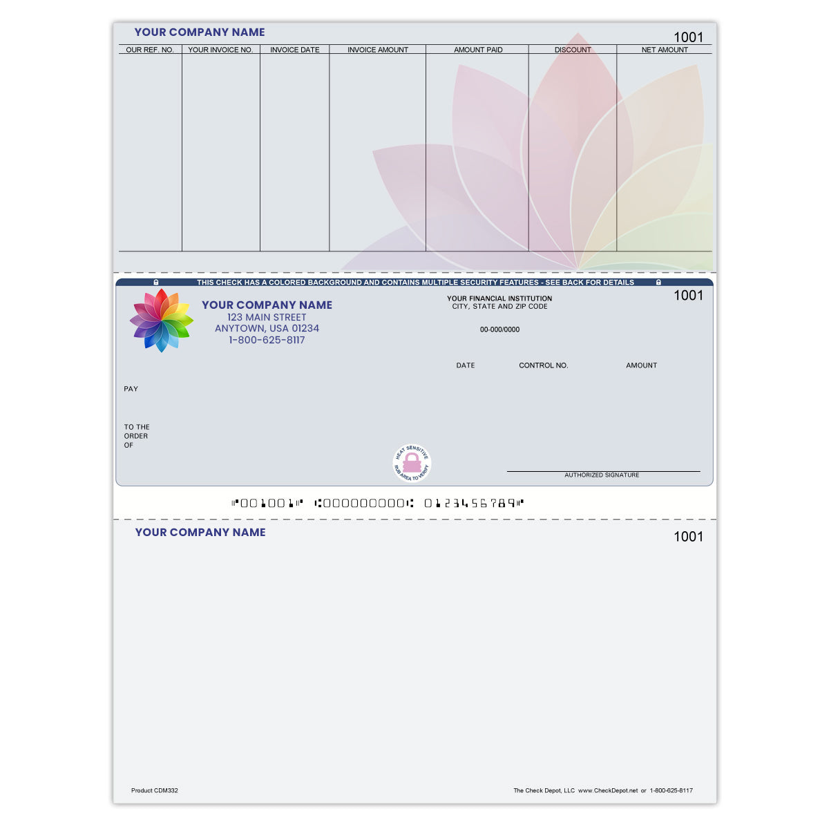 Full-Color, High-Security Laser Middle Accounts Payable Computer Checks - Check Depot