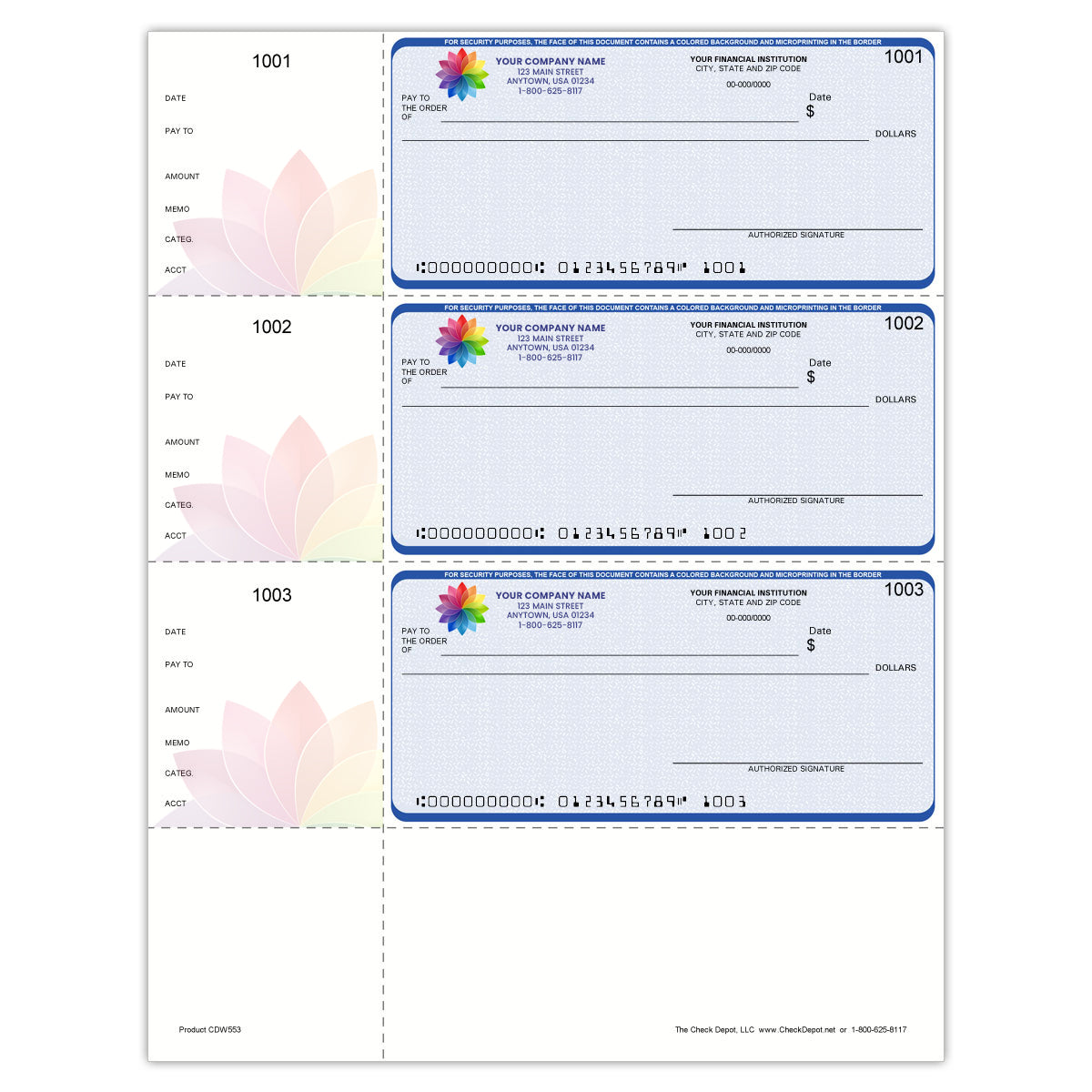 Full-Color, High-Security QuickBooks Wallet Checks, Lined - Check Depot