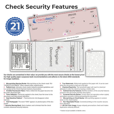 Full-Color, High-Security Laser Middle Payroll Computer Checks - Check Depot