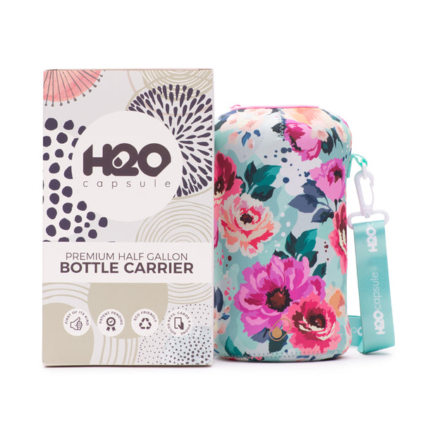Floral Bloom Sleeve - H2O Capsule Half Gallon Water Bottle Carrier with Strap