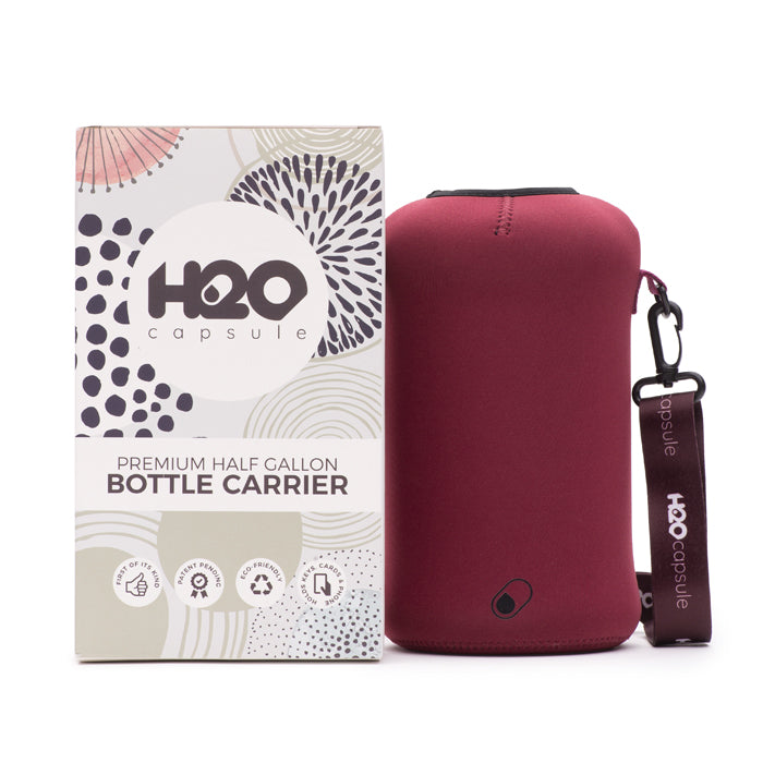 Maroon Sleeve - H2O Capsule Half Gallon Water Bottle Carrier with Strap