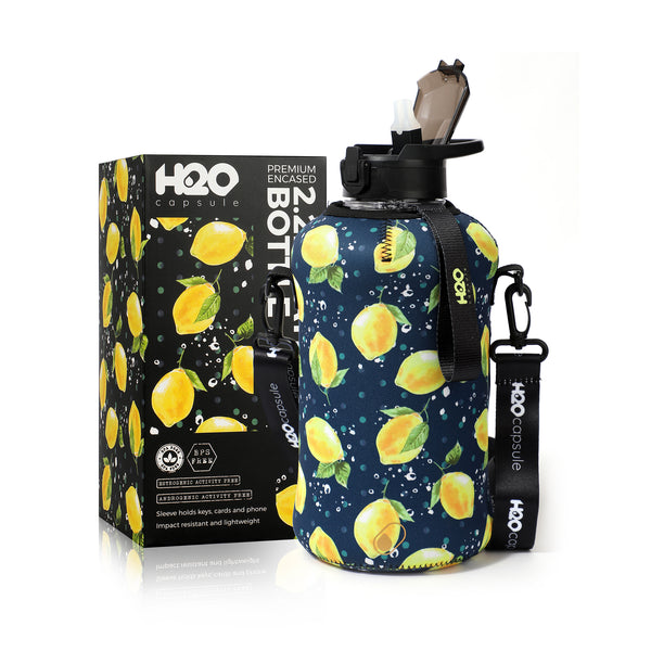 Lemon - H2O Capsule 2.2L Half Gallon Water Bottle with Storage Sleeve and covered straw lid