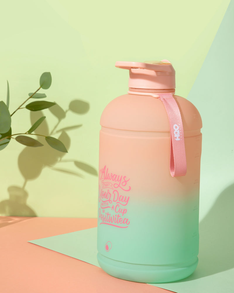 Lotus Bloom- H2O Capsule INSPO 1 Gallon Water Bottle with Time Marker and Straw