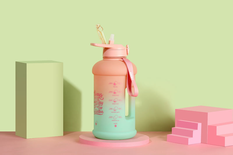 Lotus Bloom- H2O Capsule INSPO Half Gallon Water Bottle with Time Marker and Straw
