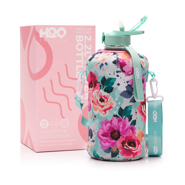 Floral Bloom - H2O Capsule 2.2L Half Gallon Water Bottle with Storage Sleeve