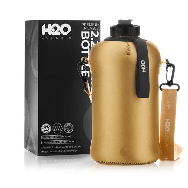 Glamour Gold - H2O Capsule 2.2L Half Gallon Water Bottle with Storage Sleeve