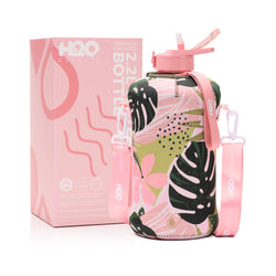 Hawaii Haven - H2O Capsule 2.2L Half Gallon Water Bottle with Storage Sleeve and covered straw lid