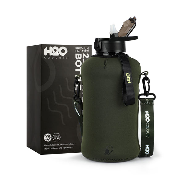 Jungle Green - H2O Capsule 2.2L Half Gallon Water Bottle with Storage Sleeve and straw lid