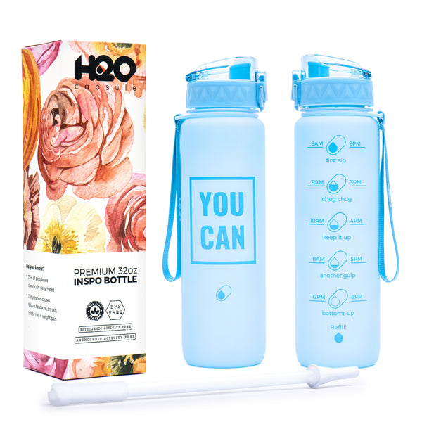 Vista Blue -32 OZ INSPO WATER BOTTLE WITH CHUG LID AND REMOVABLE STRAW