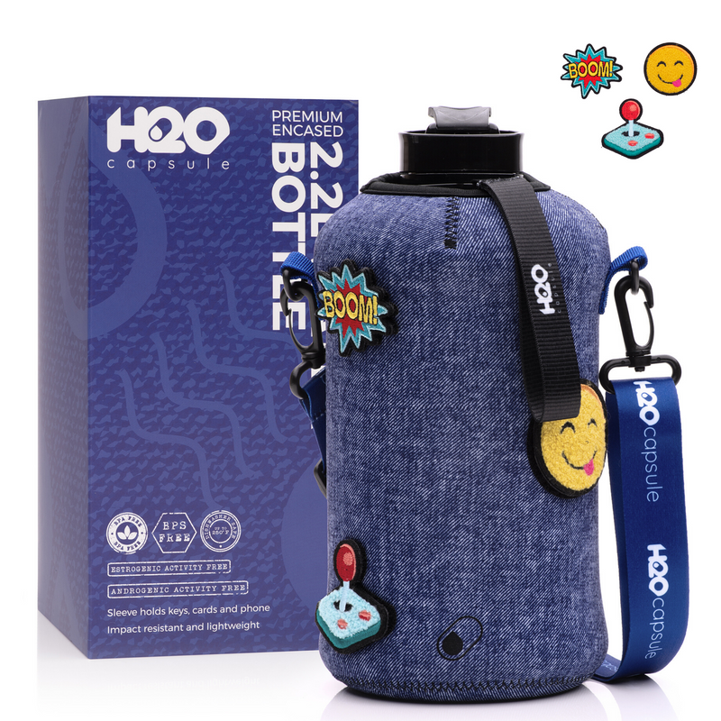 Denim Pop - 3 switchable badges -H2O Capsule 2.2L Half Gallon Water Bottle with Storage Sleeve
