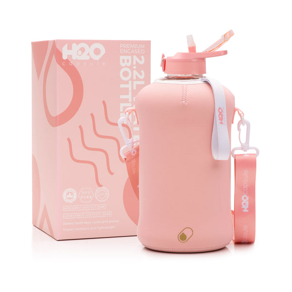 Rose Quartz - H2O Capsule 2.2L Half Gallon Water Bottle with Storage Sleeve and straw lid