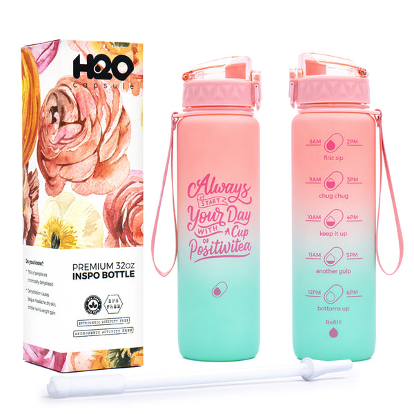 Lotus Blossom- 32 OZ INSPO WATER BOTTLE WITH CHUG LID AND REMOVABLE STRAW