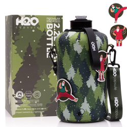 Nordic Woods - Christmas Limited Edition - H2O Capsule 2.2L Half Gallon Water Bottle with Storage Sleeve