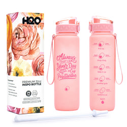 Rose Quartz - 32 OZ INSPO WATER BOTTLE WITH CHUG LID AND REMOVABLE STRAW