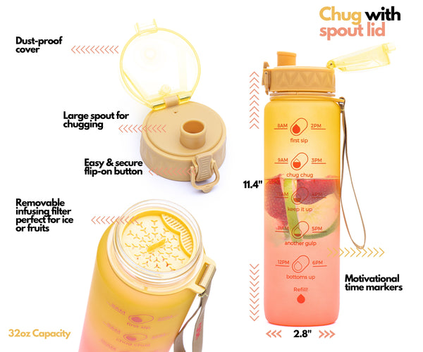 Sunny Morning - 32 Oz Inspo water bottle with chug lid and removable straw