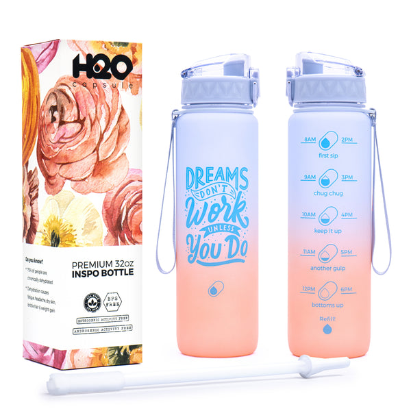 Sunset Breeze - 32 Oz Inspo water bottle with chug lid and removable straw