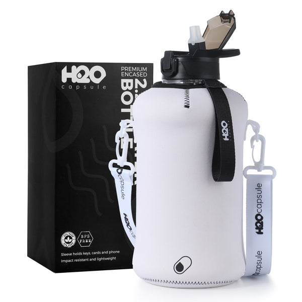 Canvas white - H2O Capsule 2.2L Half Gallon Water Bottle with Storage Sleeve and straw lid