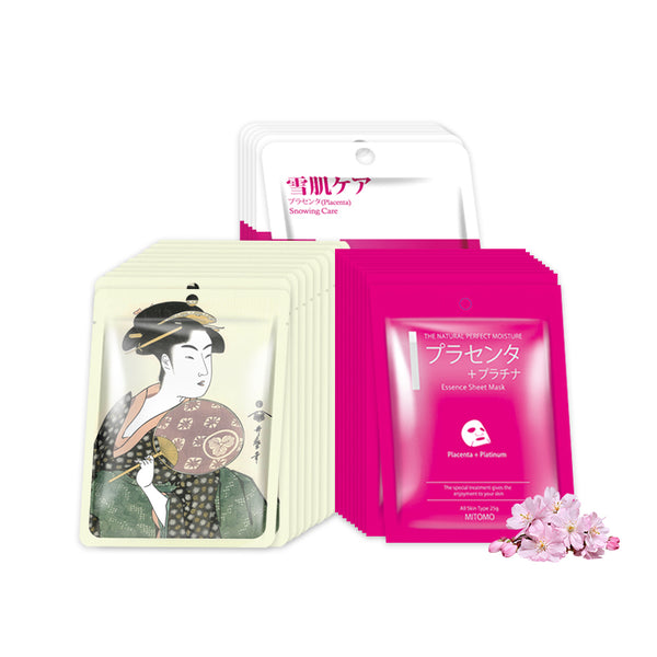 [TKJP00004-A-1] Mitomo Cherry Blossom, Royal Jelly and Placenta Spring Festival Facial Essence Mask Packs (3 Boxes / 26 Sheets) - Mitomo America